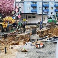 Bauarbeiten an der Haltestelle Buchrainplatz